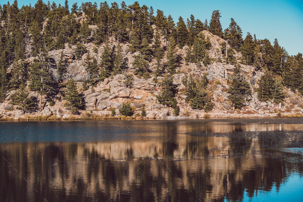 Lily Lake at Rocky Mountains, Colorado, USA. - Stock Photo - Images