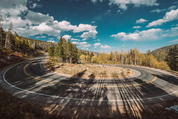 Hairpin turn at autumn in Colorado, USA. - Stock Photo - Images