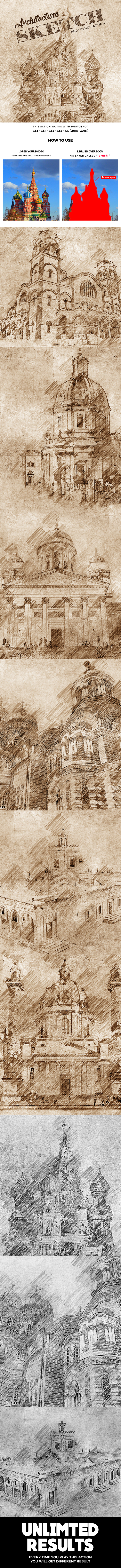 Architecture Sketch 2 Photoshop Action - Photo Effects Actions