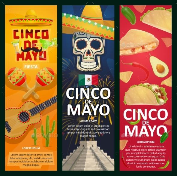 Cinco De Mayo Mexican Holiday Vector Banners - Seasons/Holidays Conceptual