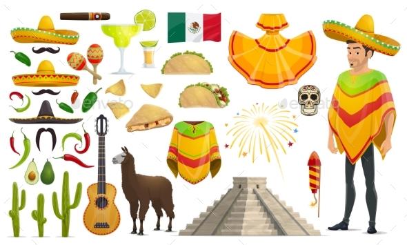 Cinco De Mayo Mexican Holiday Vector Icons - Seasons/Holidays Conceptual