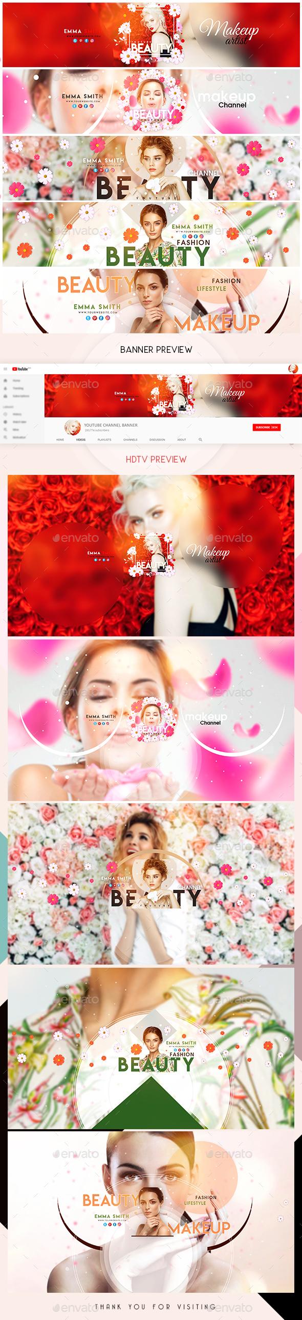 5 Beauty YouTube Banners - YouTube Social Media