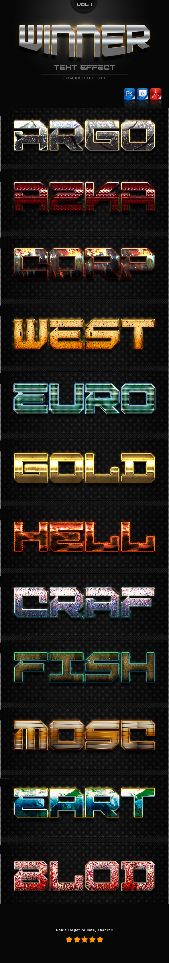 Winner Text Effect Styles Vol 1 - Text Effects Styles