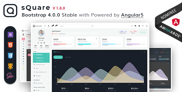 sQuare - Bootstrap 4 Light & Dark Admin with Free Angular5 + UI Kit - Admin Templates Site Templates