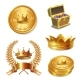 Royal Golden Crowns, Coins and Treasure Chest Set - GraphicRiver Item for Sale
