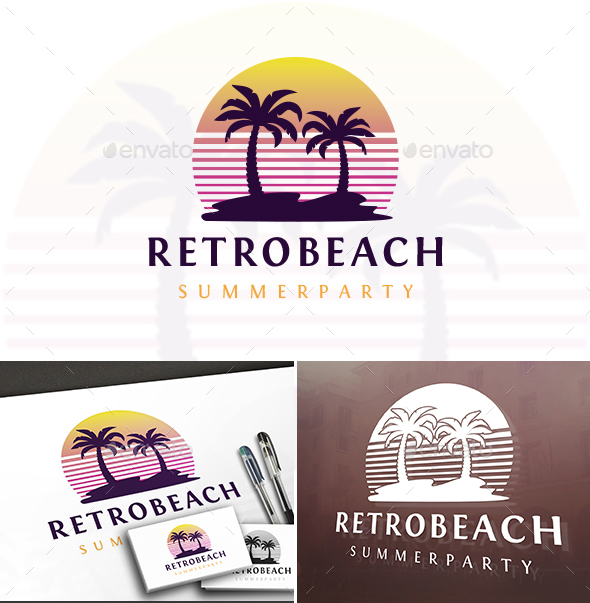 Retro Beach Logo - Nature Logo Templates