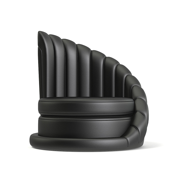 Round Leather Armchair 3D Model - 3DOcean Item for Sale