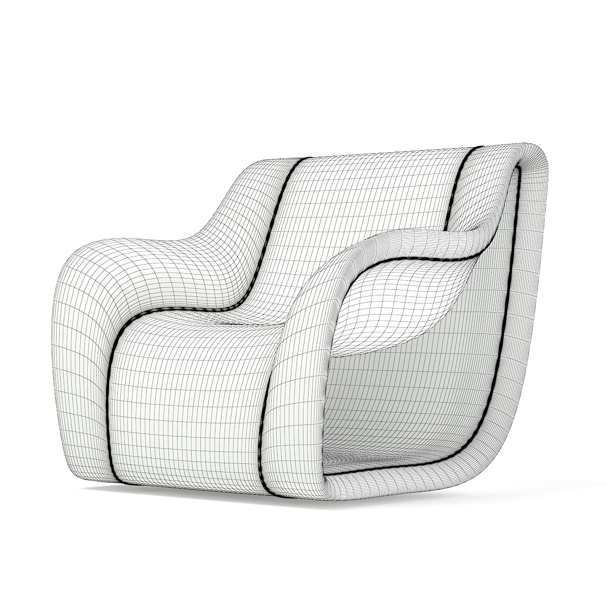 Grey and White Modern Armchair 3D Model