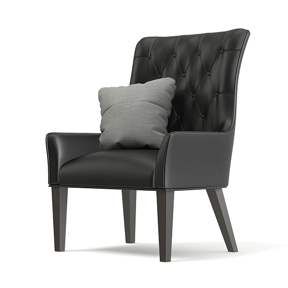 Black Leather Classic Armchair with Pillow 3D Model - 3DOcean Item for Sale