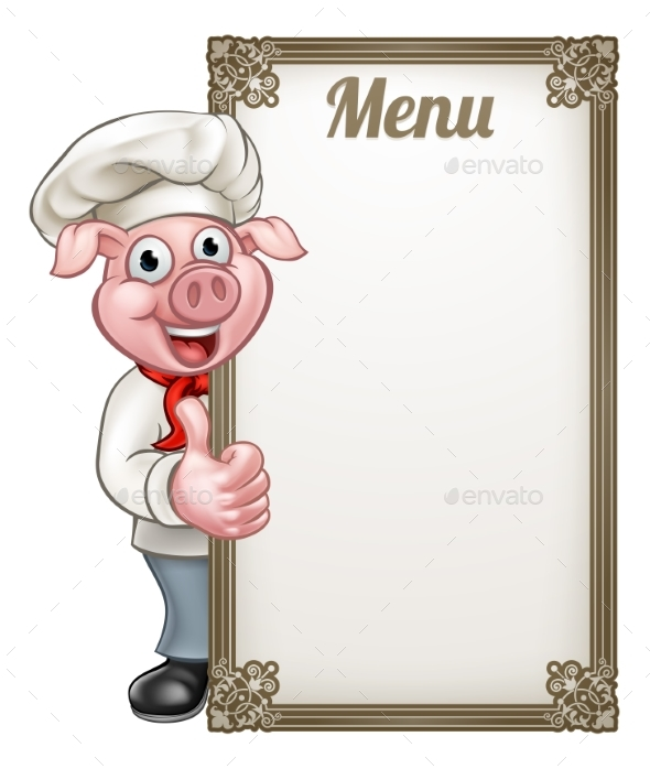 Cartoon Chef Pig Menu - Food Objects