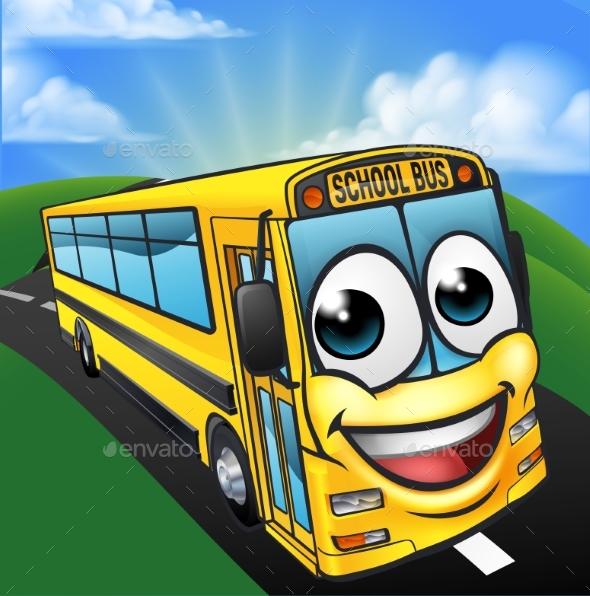 School Bus Cartoon Character Mascot Scene - Miscellaneous Vectors