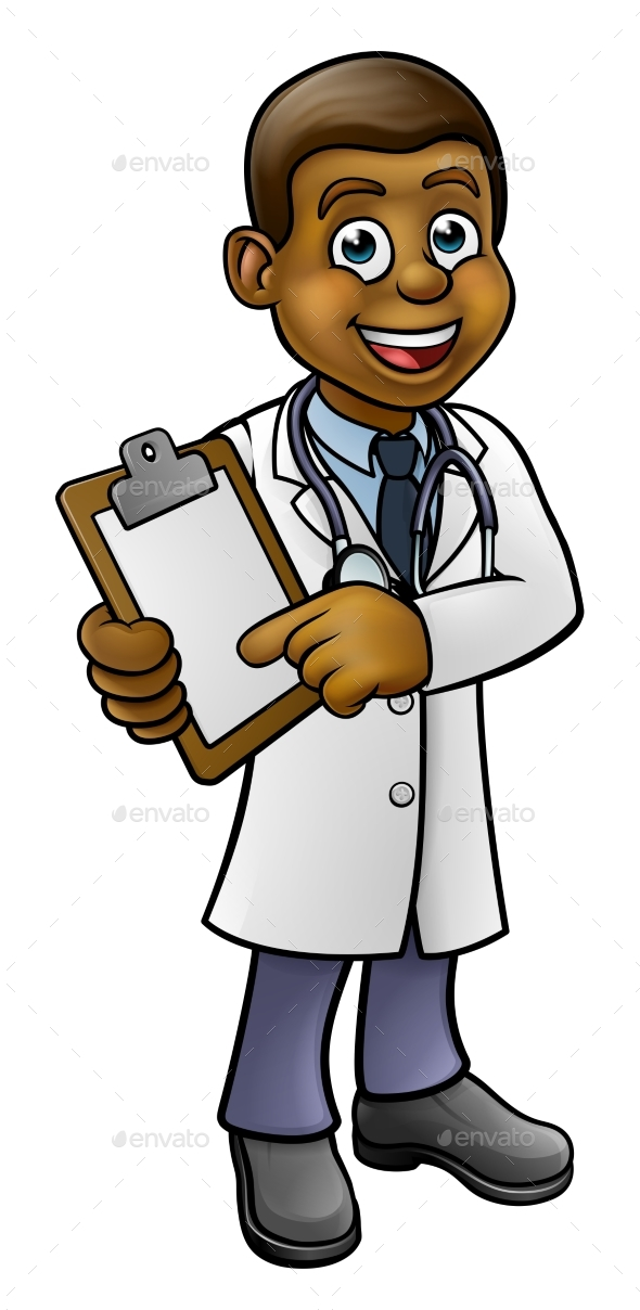 Doctor Cartoon Character Holding Clip Board - Health/Medicine Conceptual