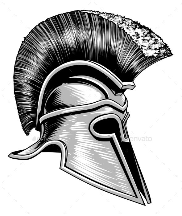 Spartan Ancient Greek Trojan Warrior Helmet - Miscellaneous Vectors