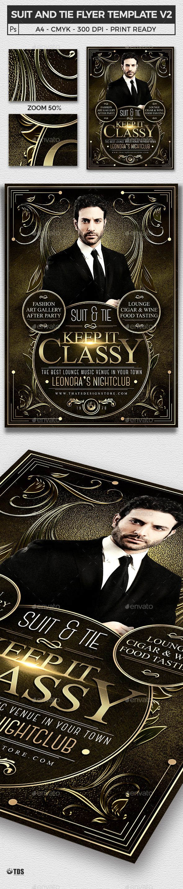 Suit and Tie Flyer Template V2 - Clubs & Parties Events
