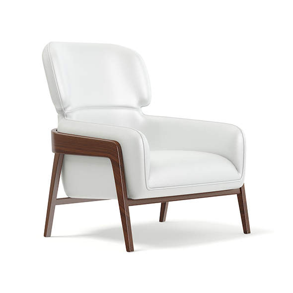 White Leather Armchair 3D Model - 3DOcean Item for Sale