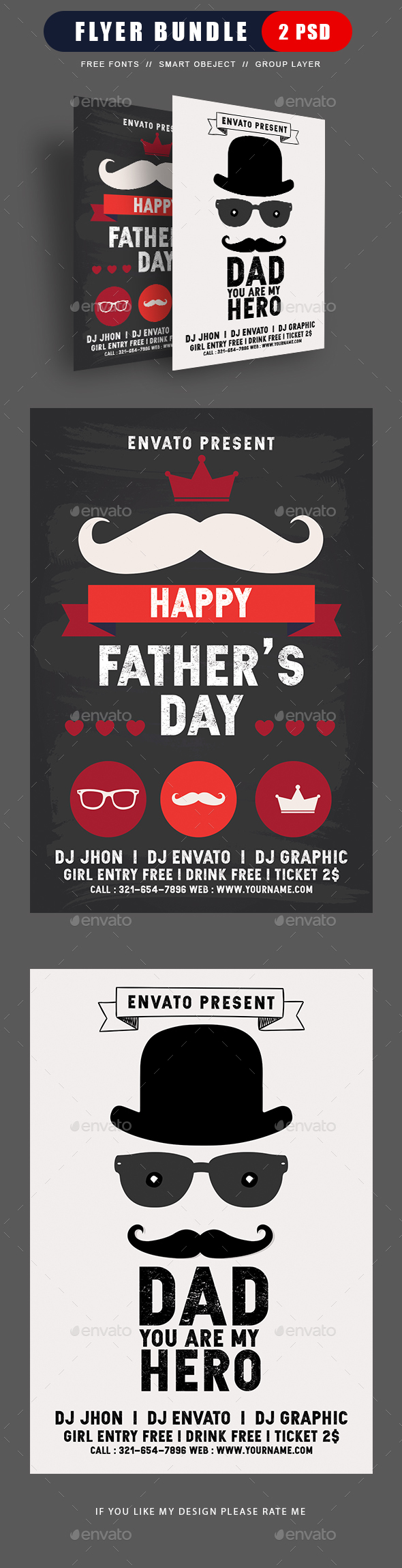 Fathers Day Flyer Bundle - Flyers Print Templates
