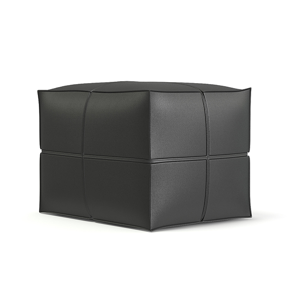 Grey Leather Pouf 3D Model - 3DOcean Item for Sale