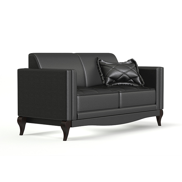 Black Leather Classic Sofa 3D Model - 3DOcean Item for Sale