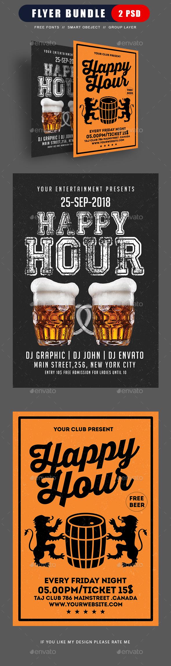 Happy Hour Beer Promotion Bundle - Events Flyers