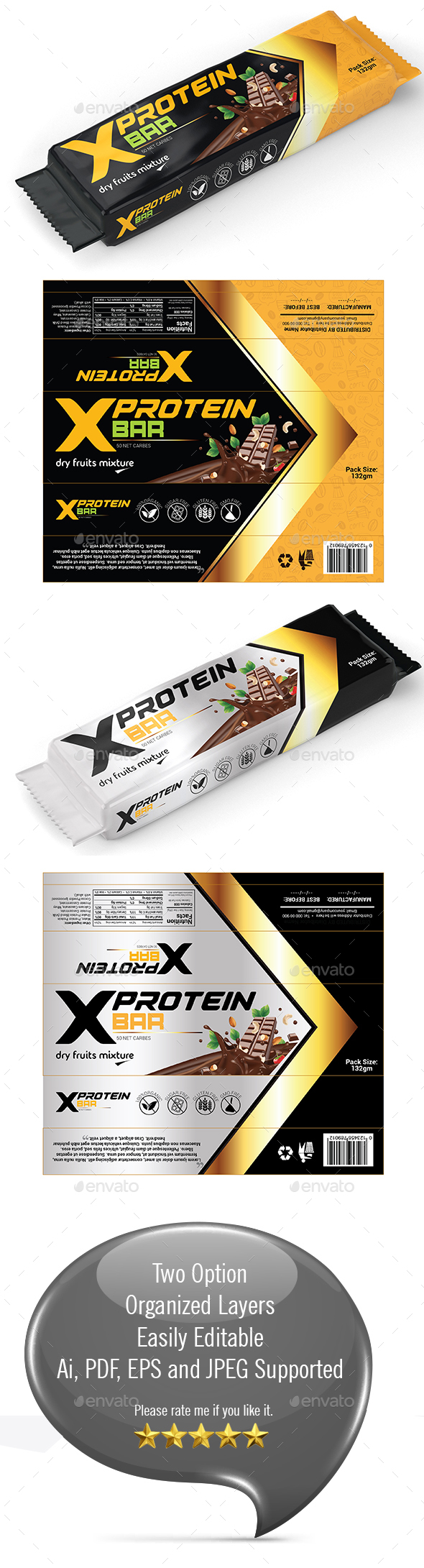 Protein Bar Wrapper Template - Packaging Print Templates