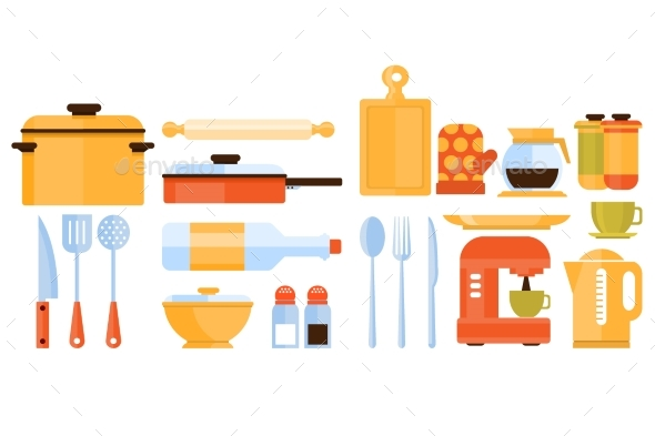Kitchen Utensils and Appliances Set - Food Objects