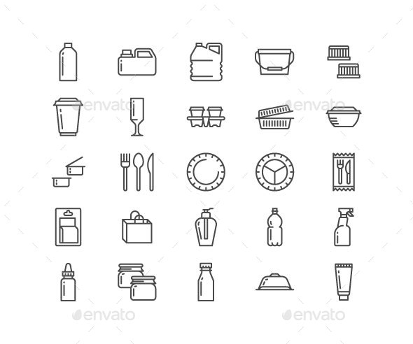 Plastic Packaging Line Icons - Objects Icons