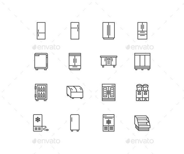 Fridge, Freezers Line Icons - Technology Icons