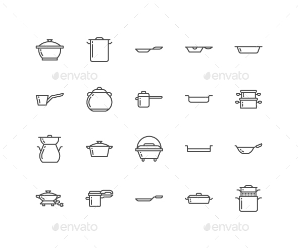 Pots, Pans Line Icons - Food Objects