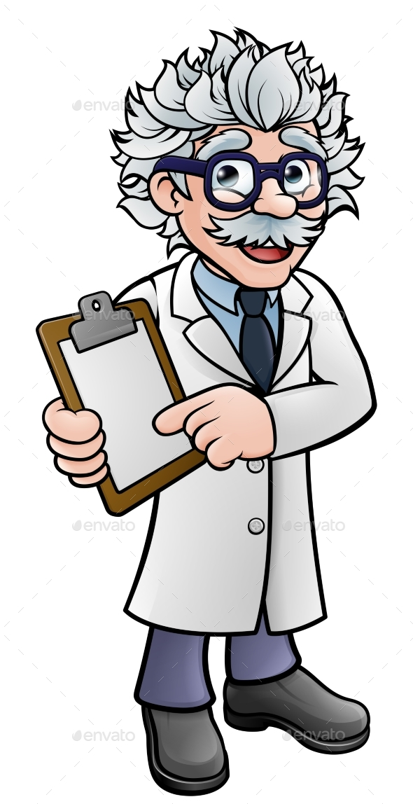 Scientist Cartoon Character Holding a Clipboard - People Characters