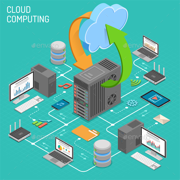 Data Network Cloud Computing Technology Isometric - Computers Technology