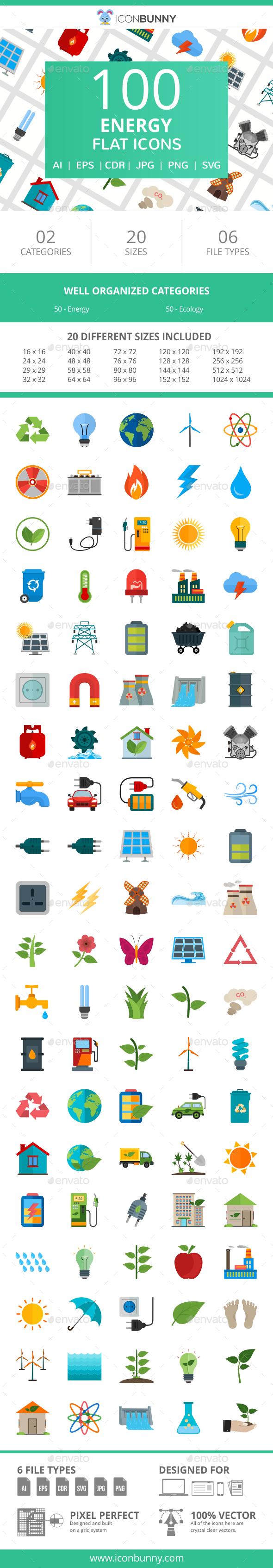 100 Energy Flat Icons - Icons