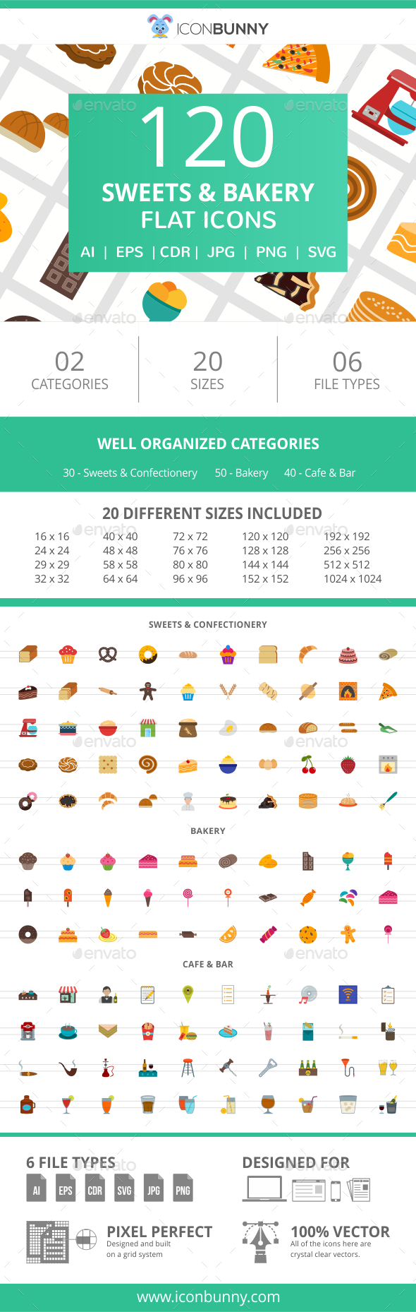 120 Sweets & Bakery Flat Icons - Icons