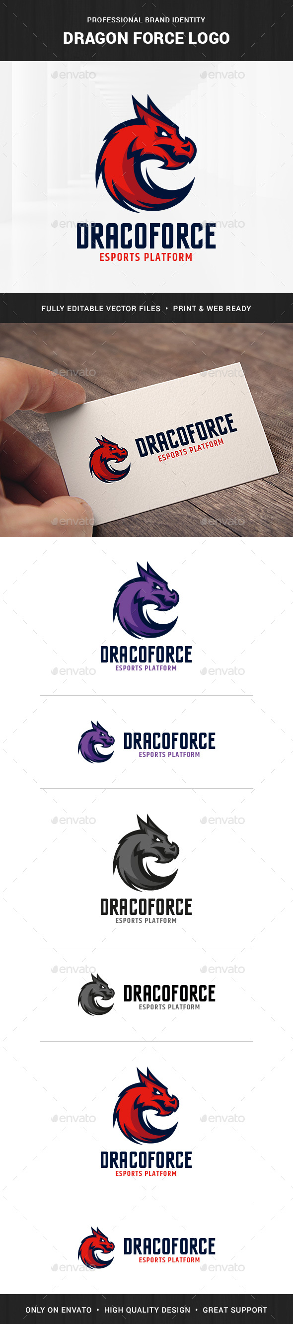 Dragon Force Logo Template - Animals Logo Templates