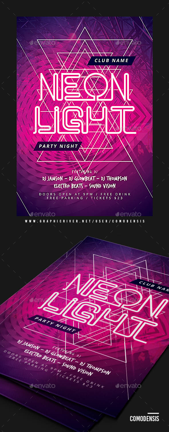 Neon Party Flyer Templates - Clubs & Parties Events