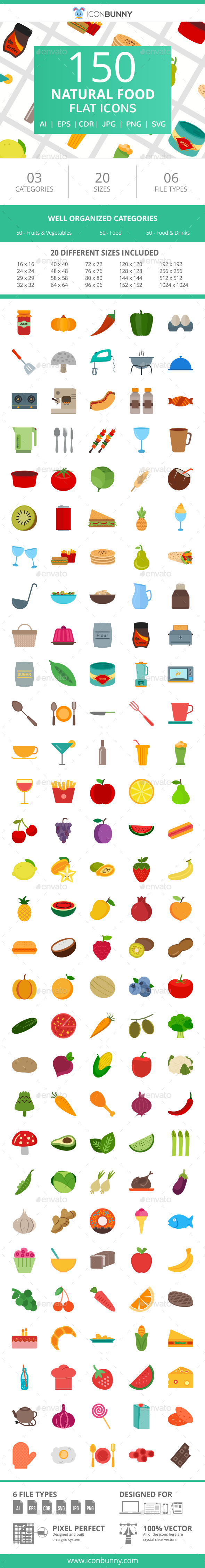 150 Natural Food Flat Icons - Icons