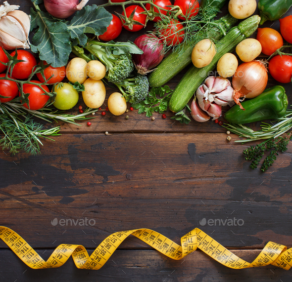 Fresh raw vegetables and herbs - Stock Photo - Images
