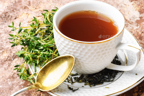 Healthy herbal tea with thyme - Stock Photo - Images