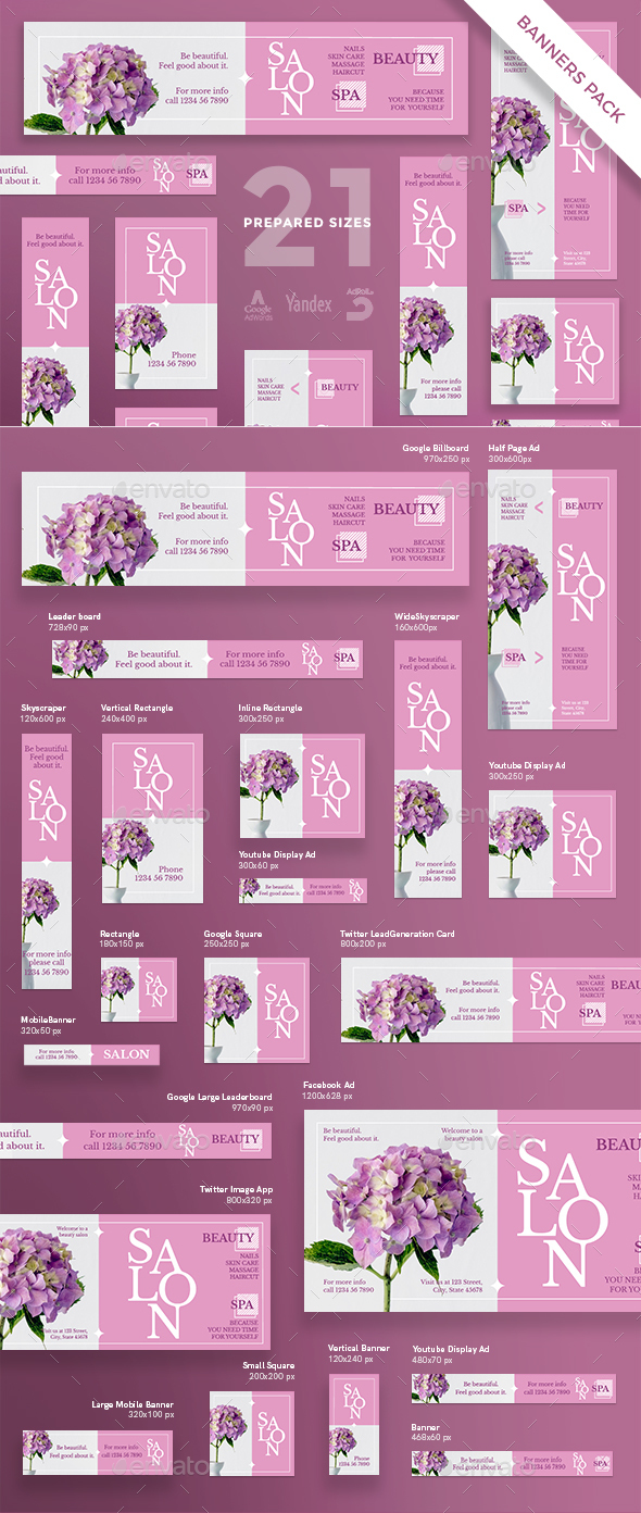 Beauty Salon Spa Banner Pack - Banners & Ads Web Elements