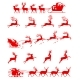 Santa Claus Silhouette Riding a Sleigh with Deers - GraphicRiver Item for Sale