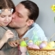 Easter Traditions. Dad and Daughter Decorate the Figure of the Easter Bunny. Papa Gently Kisses the - VideoHive Item for Sale