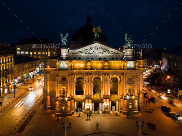 Lviv Opera House at night, Ukraine - Stock Photo - Images