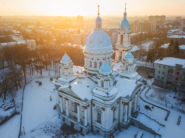 Aerial view of the Trinity Orthodox Cathedral. Sumy, Ukraine - Stock Photo - Images