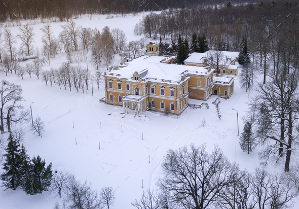 Aerial view of the old abandoned estate in the desert winter lan - Stock Photo - Images