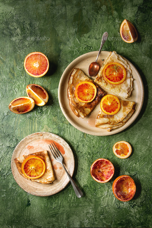 Pancakes with bloody oranges - Stock Photo - Images