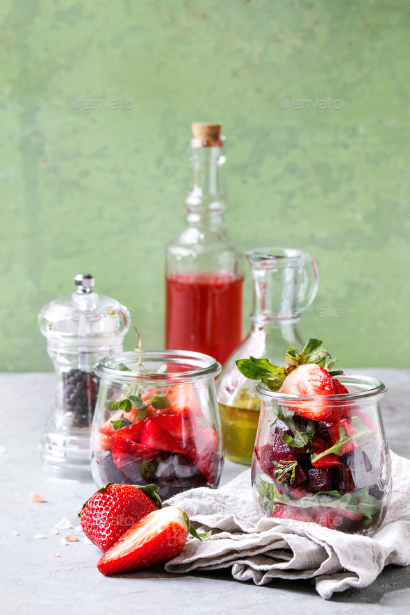 Beetroot and strawberry salad - Stock Photo - Images