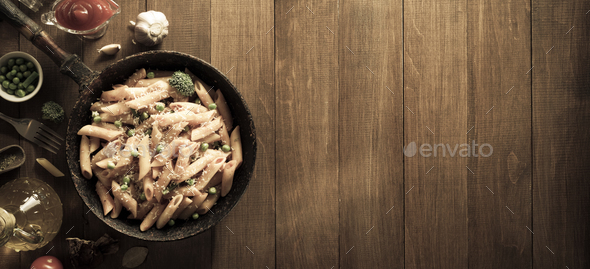 ready pasta on wood - Stock Photo - Images