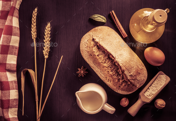 bread and bakery  ingredients on wood - Stock Photo - Images