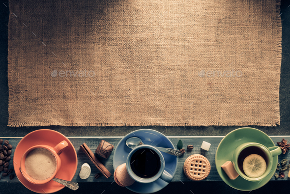 cup of coffee and tea on wood - Stock Photo - Images