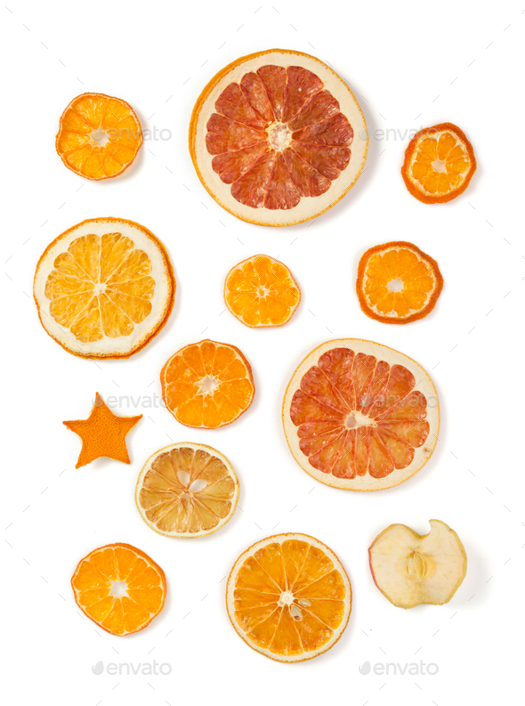 dried fruit on white background - Stock Photo - Images