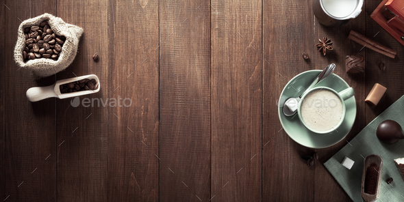 cup of coffee on wood - Stock Photo - Images